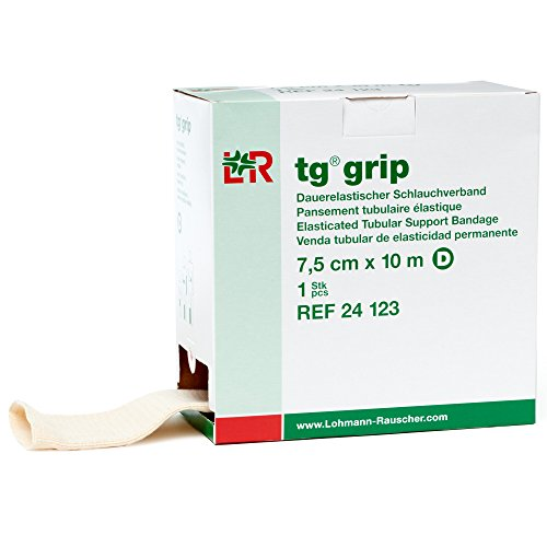 Lohmann & Rauscher Tg Grip, Size D, 7.5cm x 10m, Elasticated Tubular Compression Bandage for Light & Comfortable Support, Sleeve for Sprains, Strains, Soft Tissue Injuries, Skin Friendly Stockinette