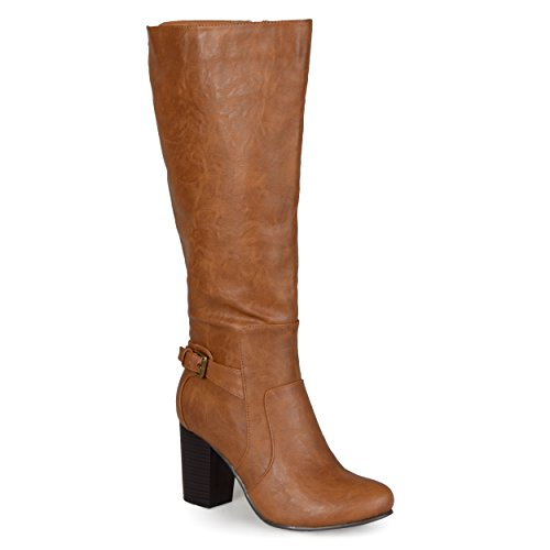Journee Collection Womens Regular Sized and Wide-Calf Buckle Detail High-Heeled Boots Tan, 8 Wide Calf US
