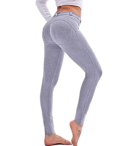 FITTOO Women's Heart Shape Yoga Pants Sport Pants Workout Leggings Sexy High Waist Trousers-Grey(S)