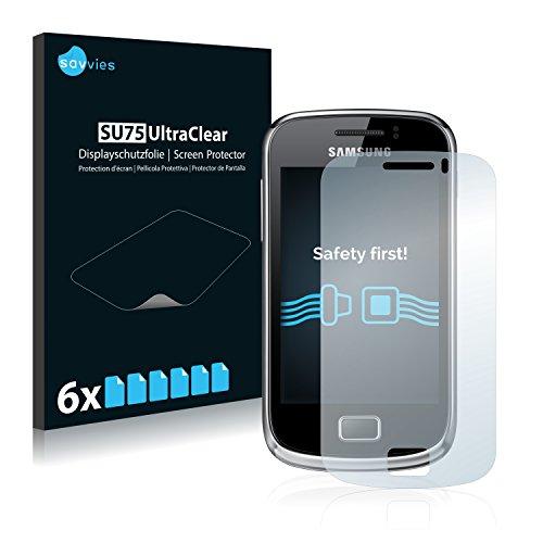 savvies 6-Pezzi Pellicola Protettiva Compatibile con Samsung Galaxy Mini 2 S6500 Protezione Schermo Trasparente