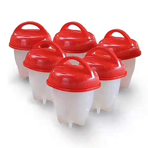 【6 piezas】 Cocedor de huevos de silicona, sin cáscara, fácil de pegar, antiadherente, para cocer huevos, para cocer huevos, sin BPA, accesorios de cocina