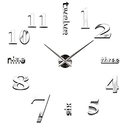 Wall Clock Mirror Stickers DIY Modern, Mute Easy to Assemble Wall Decoration for Home, Office, Hotel,Wall Sticker Clock Decoration (16 in, Silver)