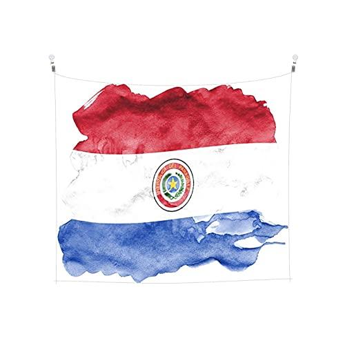 Paraguay-Flagge mit flüssiger Wandbehang, Tarot, Boho, beliebte mystische Trippy-Yoga-Hippie-Wandteppiche für Wohnzimmer, Schlafzimmer, Wohnheim, Heimdekoration, schwarz & weiß Stranddecke