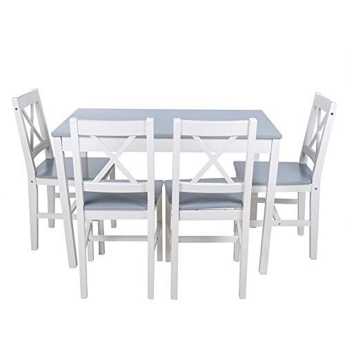 Conjunto de Mesa y 4 Sillas de Comedor, Conjunto de Muebles para Comedor Sala Cocina Restaurante, Madera Maciza (Mesa 108 x 65 x 73cm Silla 45 x 41 x 85.5cm) (Gris)