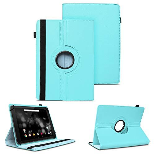 NAUC Tablet Schutzhülle kompatibel für TrekStor Primetab P10 Hülle Tasche Standfunktion 360° Drehbar Cover Hülle Universal Schutzhülle, Farben:Türkis