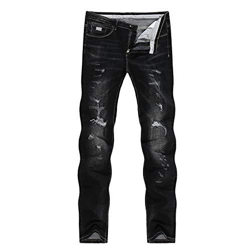 Jeans Vaqueros Pantalon Pantalones Vaqueros Negros Sólidos para Hombre Otoño E Invierno Streetwear Elástico Desgastado Pantalones Casuales para Hombre Rasgados Pantalones Vaqueros Delgados H