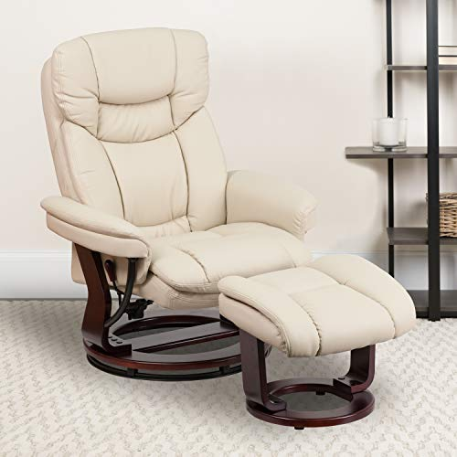EMMA + OLIVER Beige LeatherSoft Swivel Recliner Chair