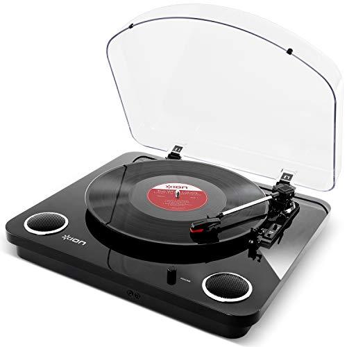 ION Audio Max LP - USB Plattenspieler Retro mit Lautsprecher, 3 Abspielgeschwindigkeiten, Konvertierungssoftware Vinyl zu MP3 für MAC und PC, schwarzer Pianolack