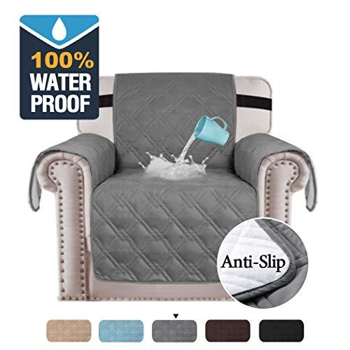 100% wasserdichte stuhlabdeckung für hunde original rutschfeste stuhlabdeckung gesteppte möbel schutz stuhlhussen für wohnzimmer premium baumwolle wie sofa stuhlhussen (stuhl / 1 sitzer: grau)