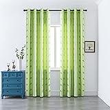 GIRASOLE Par de cortinas semiopacas con diseño de corazones con hilos de plata para salón y dormitorio, 2 paneles con ojales (verde, 140 x 280 cm)