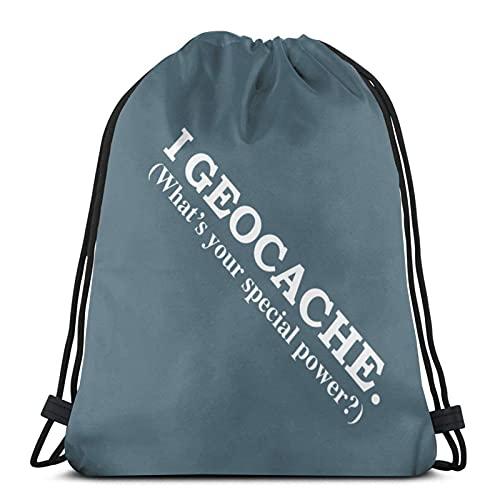 J-S Bolsa con cordón I Geocache What´s Your Special Power Gym Bag School Bag para mochila