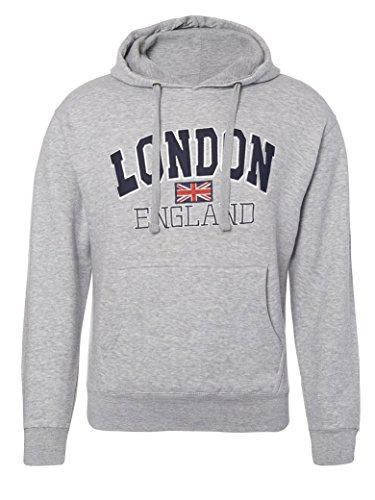 London England Sudaderas con Capucha Unisex Hombres Mujer Union Jack Flag UK Regalo de Recuerdo Bordado Mens Womens Top Hoodie Sweatshirt (XS, Gris)