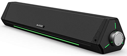 Computer Speakers, Dynamic RGB Computer Sound Bar, HiFi Stereo Bluetooth 5.0 & 3.5mm Aux-in Connection, USB Powered Computer Speakers for Desktop, Laptop, Tablets