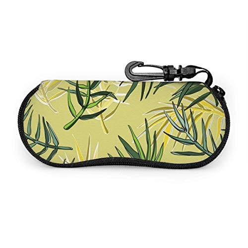 lymknumb Silueta de hojas de palma Fondo transparente Caja de gafas Caja de gafas Caja de gafas portátil Caja de gafas portátil con cerradura con llave