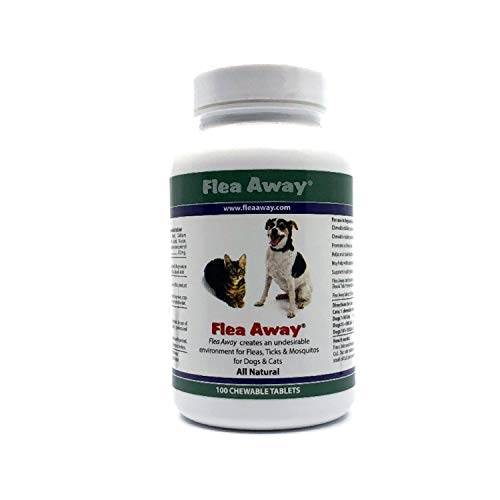 Flea Away All Natural Flea, Tick, Mosquito Repellent for Dogs & Cats, 100 Chewable Tablets, Single, FLA03933