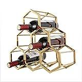 LOKIH Botellero Apilable Horizontal para Botellas De Vino, Soporte para Botellas De Vino De Metal 6 Bottles No Requiere Instalación