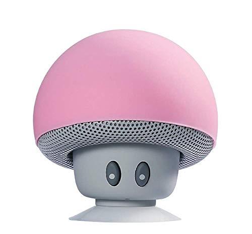 Mini Altavoz De Hongos Bluetooth,Conecciòn Inalàmbrica Mano Libre para Mòvil,Decoraciòn Adorable para Casa Y Coche,Baterìa De 150Mah USB Recarga,Pink