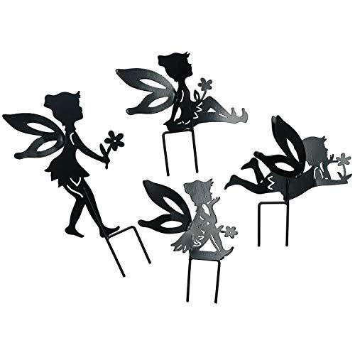 AB Tools Ensemble de 4 Petites fées Noires Silhouettes avec Jeu Déco Jardin Ornement