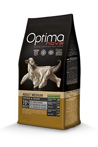 Optimanova Super Premium Huderfutter Adult Medium - Trockenfutter Hähnchen und Kartoffel – 12kg - hypoallergen - ohne Getreide - 40% Frischfleisch - Mittlere Hunderassen