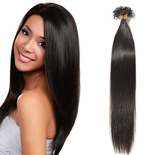 Extension Capelli Veri Cheratina 1 Grammo Neri 50 Ciocche-50g 50cm 100% Remy Human Hair Lisci Umani Indiani U Tip Extensions con Cheratina #1B Nero Naturale