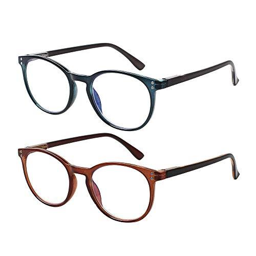 Gafas de lectura para ordenador, 2 unidades, bloqueo de luz azul, antifatiga ocular para mujeres y hombres, 1azul 1marrón, M