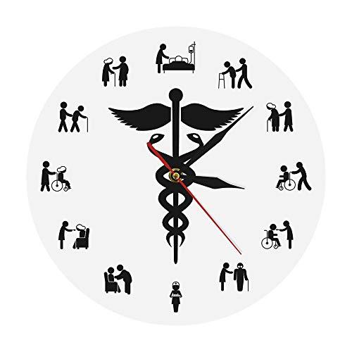 Eld Relojes médicos Caduceus decoración del hogar enfermería Arte de Pared sin Marco Reloj de Pared silencioso sin tictac Reloj de Pared Regalo de Enfermera Regalo de Amigos