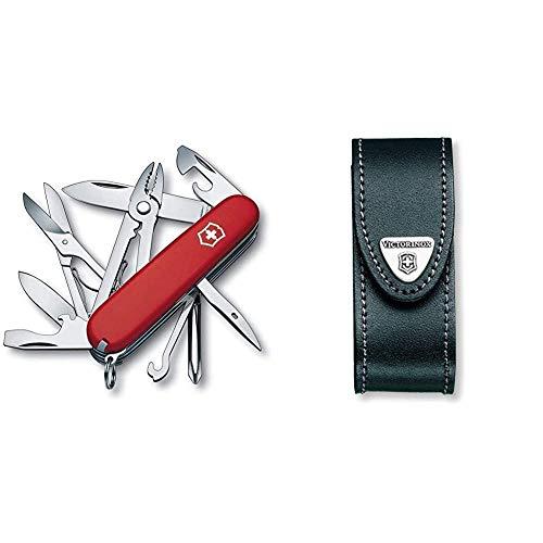 Victorinox Taschenmesser Deluxe Tinker (17 Funktionen, Phillips-Schraubendreher, Kombizange, Schere) rot & Leder-Etui (für Taschenmesser, Gürtelschlaufe, Klettverschluss, schwarz, 3cm x 10cm) schwarz