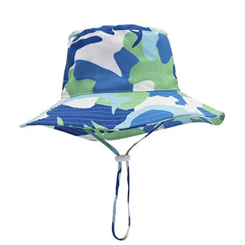 Foruhoo Baby Mädchen Mütze Sonnenhut, Kinder Hut UV-Schutz mit Kordelzug, Breite Krempe Sommerhut (Tarnung,54cm / 4-8 Jahre)