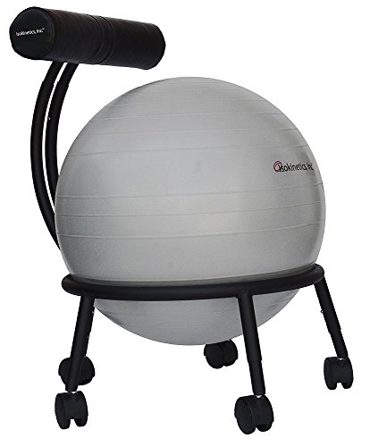 Isokinetics Inc. Brand Adjustable Fitness Ball Chair - Solid Black Metal Frame Finish - Exclusive:...