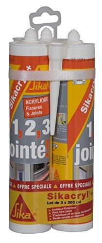Sikacryl+, Mastic acrylique spécial fissures pour finitions et joints en intérieur et extérieur, Lot 3x300ml, Blanc
