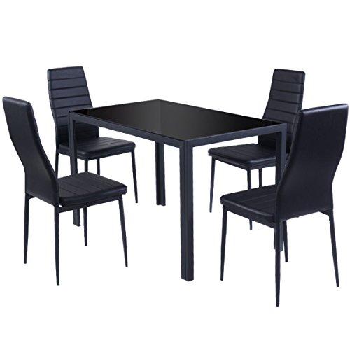 Essgruppe Tischgruppe Esstisch Stuhl Set Tischgruppe Esstischgruppe Sitzgruppe Esszimmergarnitur Glas Metall Esstisch