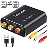 RCA to HDMI Audio Converter- Techole Aluminum 1080P RCA Composite CVBS AV to HDMI Adapter Supporting PAL/NTSC.Included 3RCA Composite Cable, CVBS Converter for PS2 Wii Xbox SNES N64 VHS VCR DVD PC