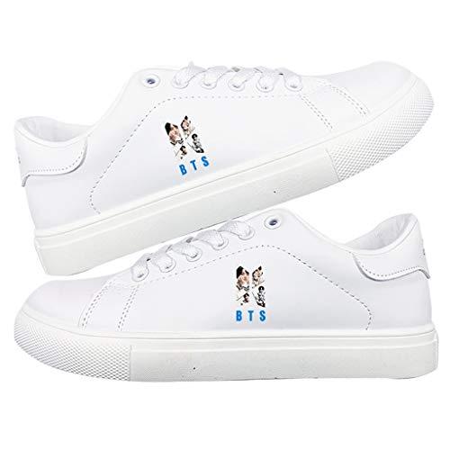 HJJ® Zapatos bts Blanco del verano zapatillas de deporte de los calzados informales BTS K-Pop Star Diseño impresión de la manera de los pares Calzado deportivo A.R.M.Y regalos calientes de la venta Es