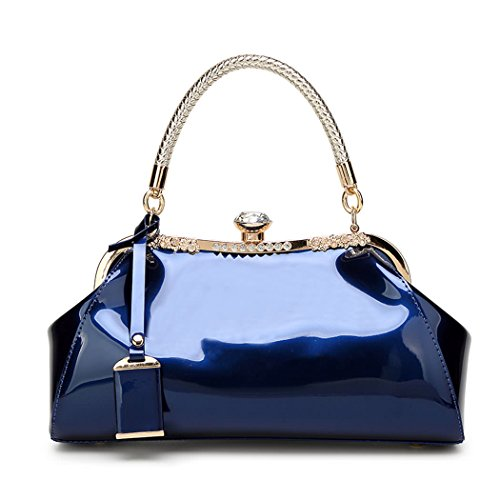 DEERWORD Damen Handtaschen Frauen Schultertaschen PU-Leder Bowlingtaschen Umhängetaschen Blau