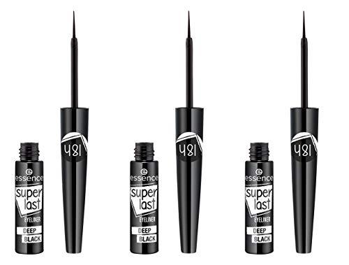essence superlast eyeliner deep black, Eye Liner, schwarz, definierend, langanhaltend, vegan, ohne Parfüm, ölfrei, 3er Pack (3 x 3ml)