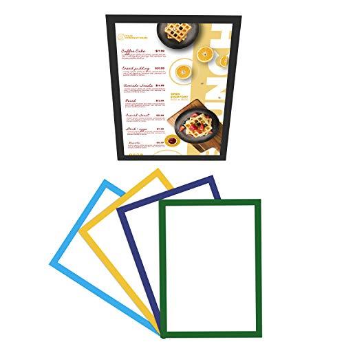 Belle Vous Marco Magnético A4 de Exposición (Pack de 5) Marcos Autoadhesivos con Display Horizontal y Vertical en 5 Colores - Exhibidores para Oficina, Casas, Restaurantes y Escaparates de Tiendas