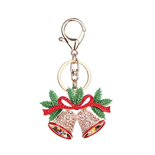 HXYKLM Doreen Doos Kerstbel Sleutelhanger Goud Kleur Groene Strik Champagne Strass Emaille Accessoires 10.7cmx 6.4cm, 1 Stuk