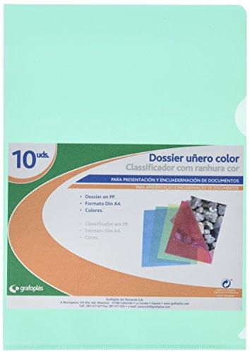 Grafoplas 5281120 - Pack de 10 dossiers Uñero A4, color verde