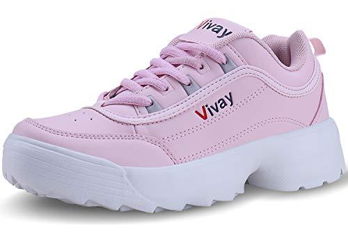 Vivay Damen Sportschuhe Laufschuhe Turnschuhe Sneakers Leichte Schuhe, Peach Pink, 41 EU
