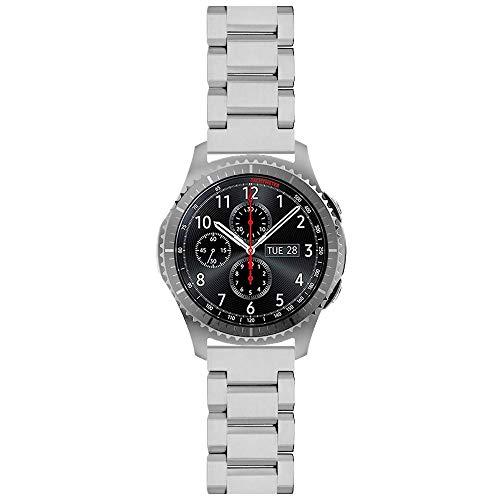 Kai Tian Metall Armband Compatible for Samsung Gear S3 Frontier Galaxy Watch 46mm Gear S3 Classic 22mm Edelstahl Uhrenarmband Sport Ersatzband Silber