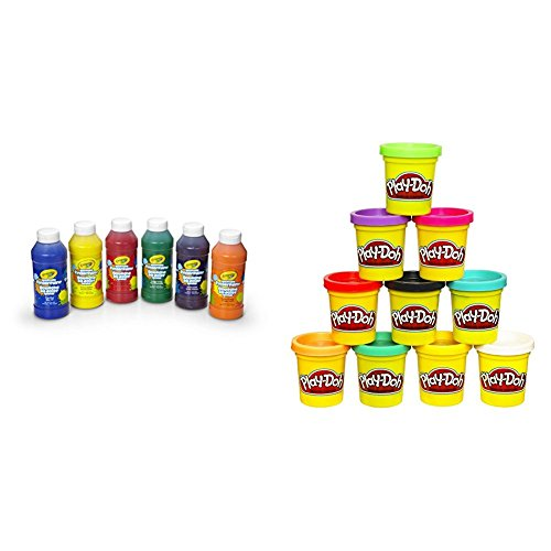 Crayola 6 Count 8 oz. Washable Kids Fingerpaints, Paint Supplies for Kids,3 Bold Primary & 3 Bright Secondary colors with Play-Doh 10-Pack of Colors (Amazon Exclusive) Bundle