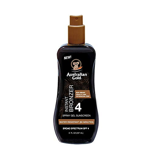 Australian Gold Spray Gel Sunscreen with Instant Bronzer SPF 4, 8 Ounce | Moisturize & Hydrate Skin | Broad Spectrum | Water Resistant | Non-Greasy | Oxybenzone Free | Cruelty Free