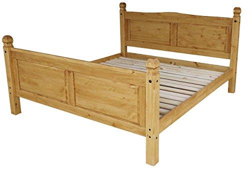 Brasilmöbel® Doppelbett Rio Classico 180 x 200 cm - Pinie Massivholz Honig - in vielen edles Pinienholz - massiv aus nachhaltiger Forstwirtschaft - Schlafzimmer Pinienmöbel
