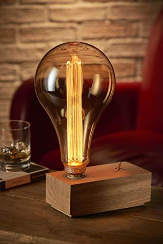 Auraglow Mysa Vintage Retro Bloque de madera Interruptor de palanca mecánico Cubo Mesita de noche Lámpara de mesa/Luz - con bombilla LED XXL