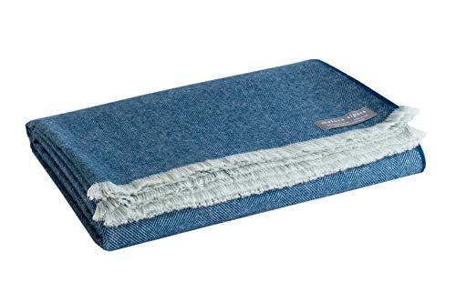 Maloca Alpaca Throw Blanket-100% Royal Alpaca Wool Herringbone Weave - Ethically Sourced   Hypoallergenic   Softer & Warmer Then Wool   Very Limited Production (Indigo)