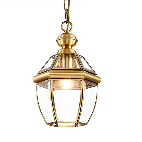 E27 hanglamp hanglamp alle koperen lichtlichaam glazen schaduw design hanglamp vintage industriële binnenverlichting hanger licht ganglamp eettafel slaapkamer keuken balkon ingang, ø21cm