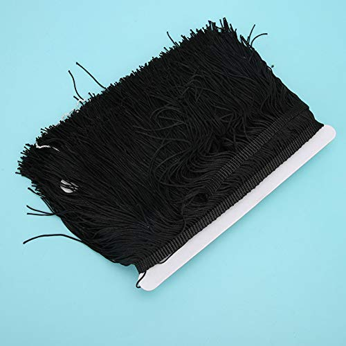 Okuyonic 10yd 14cm Longue Dentelle Latine Macramé Latin Frange Garniture Confortable Vêtements Rideau pour Bricolage Robe Latine Samba Danse(Black)