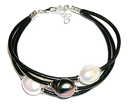 Pulsera de Perlas Cultivadas Tricolor Perlas barrocas Blanca, Rosa, y Gris con Cuero Natural y Plata...