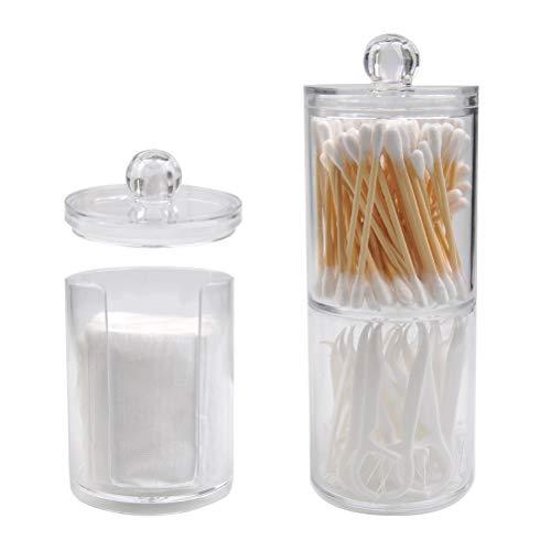 'N/A' 3PCS Caja de Almacenamiento Acrílico Transparente con Tapa,Utilizado para Almacenamiento Limpiar Algodón,Hisopos de Algodón,Bolas de Algodón,Cosméticos