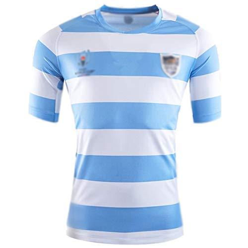 LQLD 2019 Argentinien-Weltmeisterschaft Rugby Jersey, Samoa Rugby-Männer Jersey, Training Jersey Kurzarm, Sport Top,Light Blue,XL